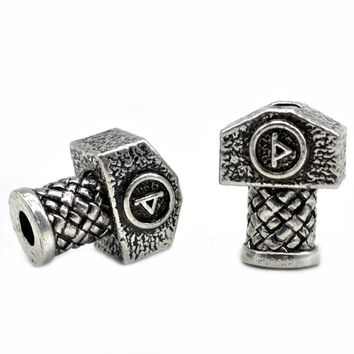 1pc High Quality Weight Viking Runes Beads Hammer for Bracelets for Pendant Necklace DIY for Beard Hair Beads C48