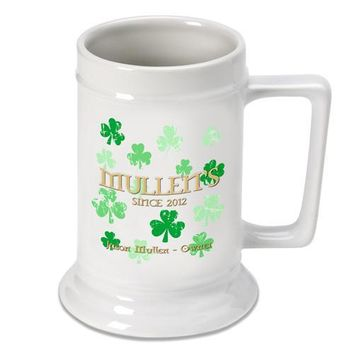 16oz. Ceramic Beer Stein - Raining Clovers