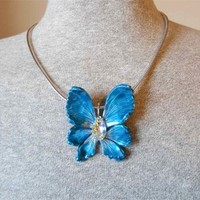 Silver/Blue Fantasy Fairy Wing Pendant with Swarovski Crystal
