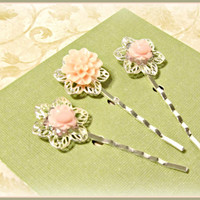 Pastel Pink Filigree Flower Hair Pins  - Set of 3 - Hair Bobby Pins - Wedding, Summer Trends, Victorian