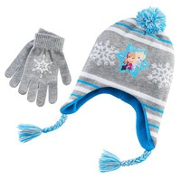 Disney's Frozen Elsa & Anna Hat & Gloves Set - Girls 7-16, Size: One Size (Blue/Gray)
