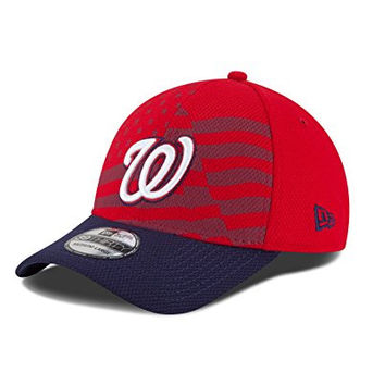 MLB Washington Nationals 2015 July 4th Stars and Stripes 39THIRTY Stretch Fit Cap, Small/Medium, Red