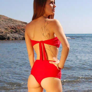 High-Waisted Brazilian Thong Bikini Bottom PAMPELONNE in Ruby Red, by Makani Dream Swimwear