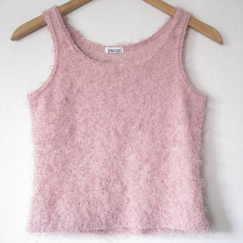 90s LIGHT PINK Fuzzy Camisole Top Textured Knit Sweater Tank Club Kid Cyber Kandi Raver Pastel Goth Kawaii Seapunk Clueless // S-M