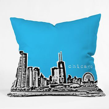 Bird Ave Chicago Blue Throw Pillow
