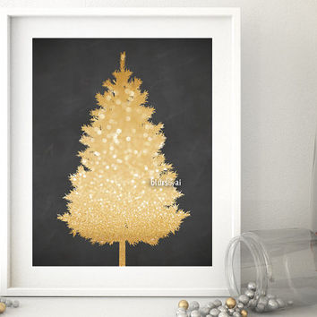 "Christmas tree print, gold glitter Christmas tree silhouette printable poster, 20x16"" printable decor, printable holiday decor diy - cta006"