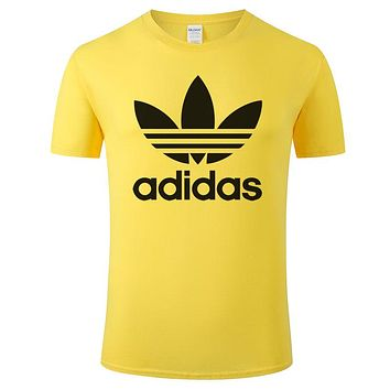 ADIDAS Tide brand classic clover big logo men and women sports short-sleeved T-shirt Yellow