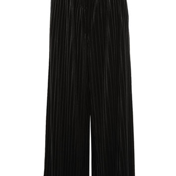 Balmain - Pleated velvet wide-leg pants