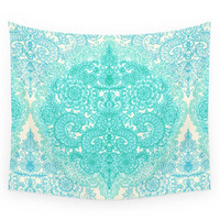 Society6 Happy Place Doodle In Mint Green & Aqua Wall Tapestry