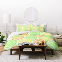 Lisa Argyropoulos Citrus Wheels And Dots Duvet Cover