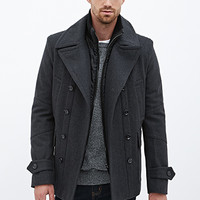 Wool-Blend Coat Charcoal Heather