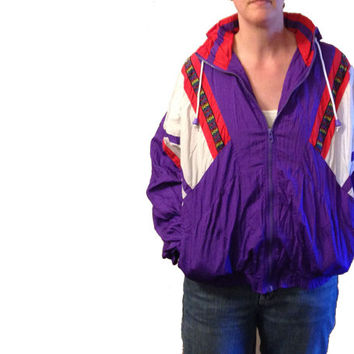 Vintage Jacket, Nylon Jacket, 80's Jacket, 90's Jacket, Adult Large, Purple and White