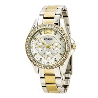 Fossil ES3204 Women's Riley Silver Dial Two Tone Steel Multifunction Watch
