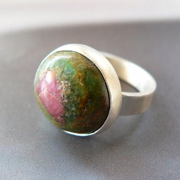 Ruby zoisite Sterling silver statement ring, handcrafted coctail ring, metalwork, OOAK jewelry