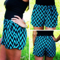 Light Blue and Black Wavy Striped Elastic Waist Shorts