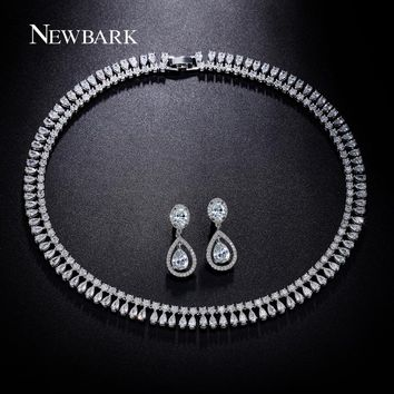 NEWBARK Luxury Wedding Jewelry Sets Silver Color Cubic Zirconia Water Drop Earrings And Necklace Love Gifts For Bridal Best Gift