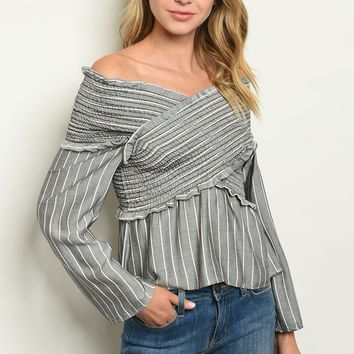Long sleeve off the shoulder banded tunic top