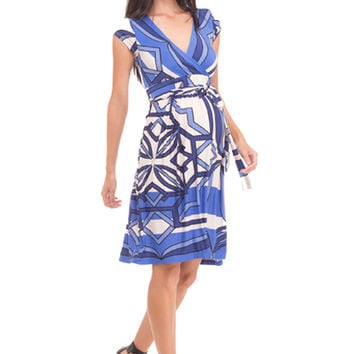 Olian Helen Geo Print Maternity Faux Wrap Dress