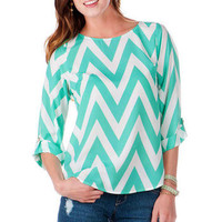 Belle Isle Park Chevron Blouse in Mint                       - Francescas