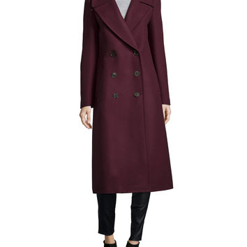 Melton Double-Breasted Long Coat, Bordeaux, Size: 6, BORDEAUX - Michael Kors