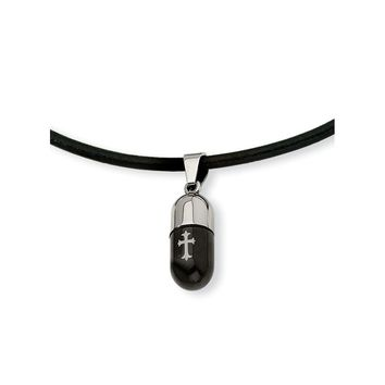 Stainless Steel Etched Black IP-plated Cross Capsule 18in Necklace