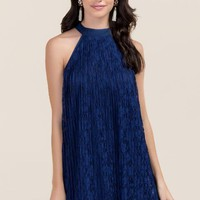Janelle pleated lace bow dress