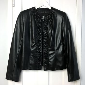Bestini Paris women's Black Faux Leather Jacket sz 6