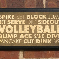 Volleyball Vintage Style Wall Plaque/Sign - Custom Color
