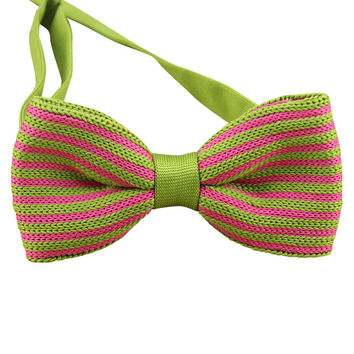 Green and Pink Knit Bow Tie