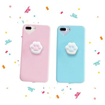 Cute Squishy Cat Claw Case for iPhone 6 6S 7 Plus Funny Pressure Release Soft Squishi Squeeze Cats Phone Cases