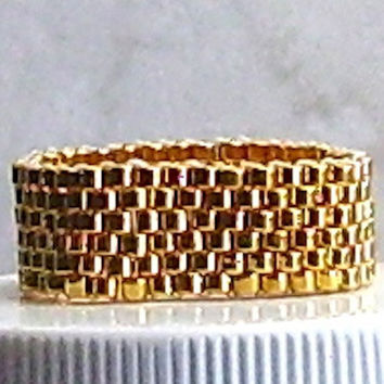 Gold Seed Bead Ring 24KT Seed Beads Peyote Stitch Beadweaving
