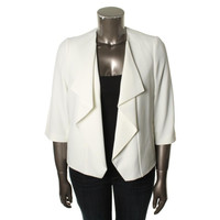 Anne Klein Womens Ruffled Open Front Collarless Blazer