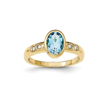 14k Yellow Gold Lt. Swiss Blue Topaz/diamond Bezel-set Ring