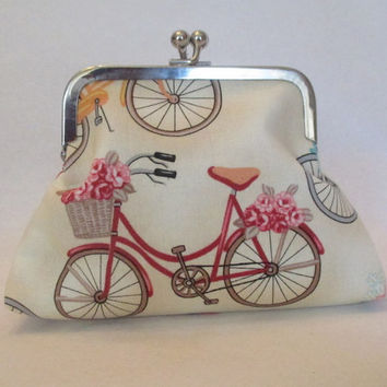 Coin Purse With Bikes , Metal Frame Coin Purse , Earbud Case