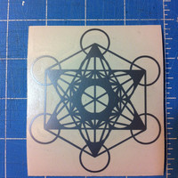 Metatrons cube sacred geometry die-cut decal sticker 3x3 holograph edition
