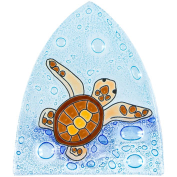 Turtle Baby Swimming in Bubbles Fused Glass Nightlight Cover