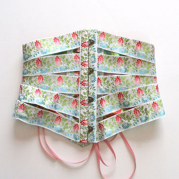Ribbon Corset Cincher Belt / Pink Blue Green Flower Brocade Brass / Small - MAISIE Ribbon Corset Ready-to-Ship OOAK