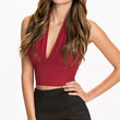 Halter Backless Ruched Cropped Top