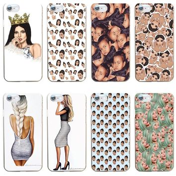 166GV Kim Kardashian kanye west north kylie jenner 02 Hard Transparent Cover Case for iphone 4 4s 5 5s se 6 6s 8 plus 7 7 Plus X