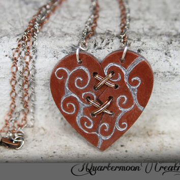Tiny Ex Marks The Heart - Acrylic Laser Cut Broken and Mended Heart Statement Necklace