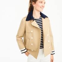 Cropped trench with detachable striped cuffs