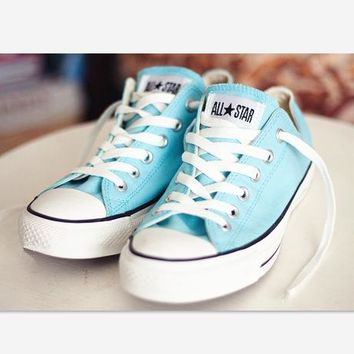 One-nice™ Converse Fashion Canvas Flats Sneakers Sport Shoes light blue