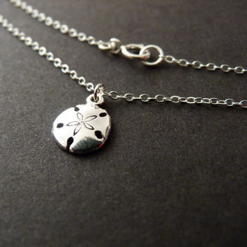Sand Dollar Necklace, All Sterling Silver, Sand Dollar Charm, Beach Wedding Gift