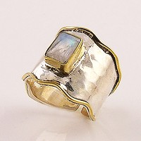 Moonstone Two Tone Sterling Silver Adjustable Ring