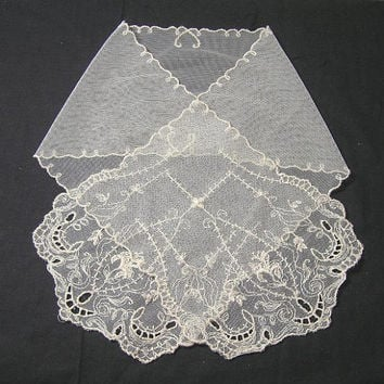 1940s Vintage Lace Jabot with Machine Embroidery on Net in Ivory, 33.25 Inches Long, ~~by Victorian Wardrobe