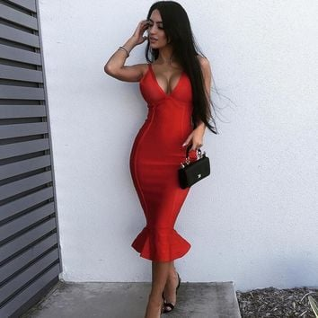 Newest Summer Bandage Dress Women Celebrity Party Spaghetti Strap V-Neck Sexy Club Night Out Dress Women Mermaid Vestidos