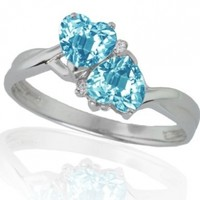 10k White Gold Blue Topaz and Diamond Heart Ring (0.02 cttw, I-J Color, I1 Clarity):Amazon:Jewelry