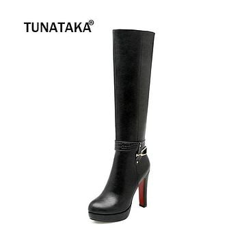 Women's Zip Platform Square High Heel Knee High Boots Fashion Winter Round Toe Shoes Woman White Black Apricot