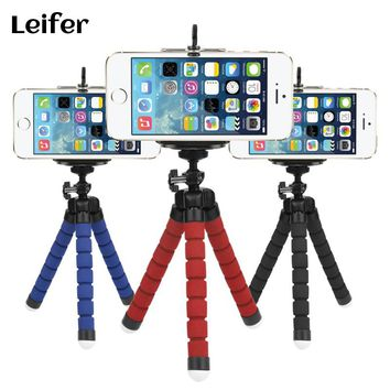 Leifer Sponge Flexible Octopus Tripod For Phone with Phone Holder Tripod for iPhone Samsung Huawei Xiaomi Lenovo Smart Mobile
