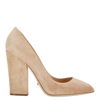 Sergio Rossi Scarlet Thick Heel Suede Pump: Honey at INTERMIX | Shop Now | Shop IntermixOnline.com